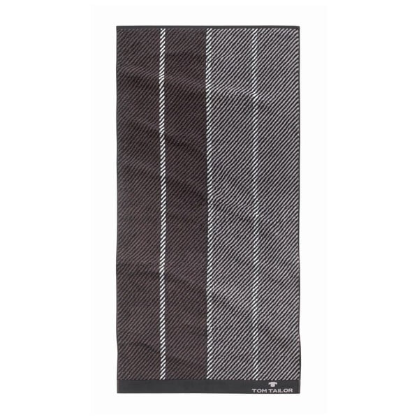 Ręcznik Tom Tailor Stripes Dark Grey, 90x200 cm