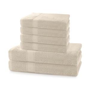Komplet 2 beżowych ręczników kąpielowych i 4 ręczników DecoKing Bamby