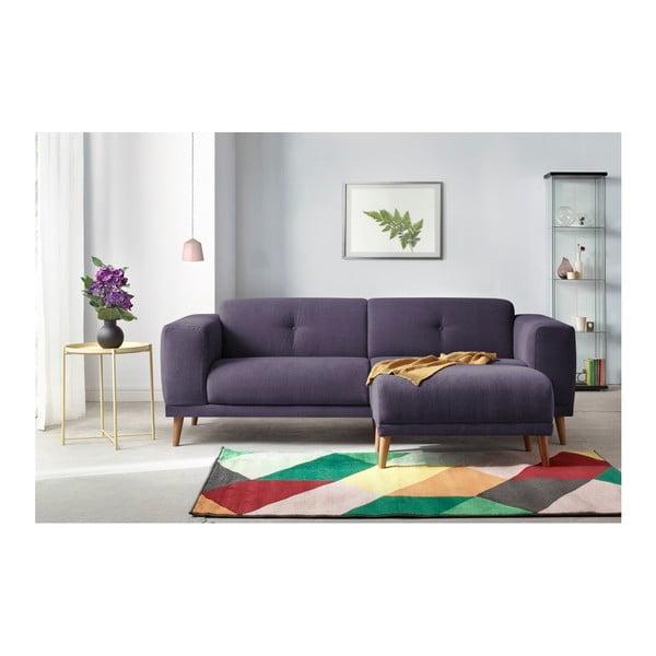 Fioletowa sofa 3-osobowa z podnóżkiem Bobochic Paris Luna