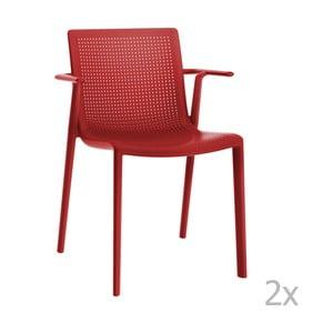 Zestaw 2 czerwonych krzeseł ogrodowych z podłokietnikami Resol beekat