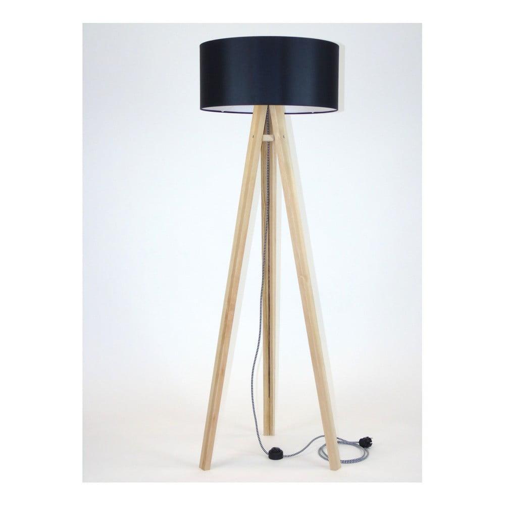 Lampa stojąca z czarnym abażurem i czarno-białym kablem Ragaba Wanda