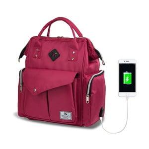 Fuchsiový batoh pro maminky s USB portem My Valice HAPPY MOM Baby Care Backpack