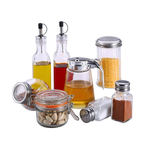 Komplet pojemników na przyprawy, miód, cukier, olej i ocet Bergner Crystal