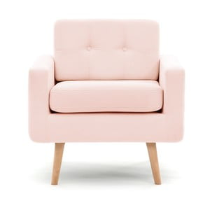 Pastelowo różowy fotel VIVONITA Ina