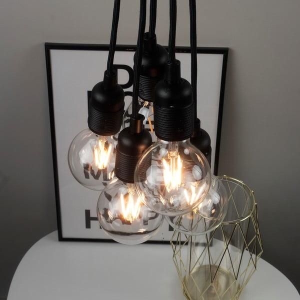 Czarna lampa wisząca z 5 kablami Bulb Attack Uno Basic Unit
