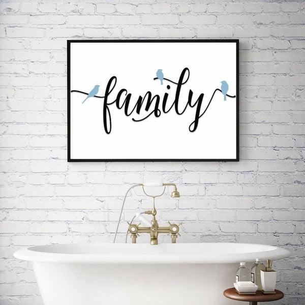 Plakat w drewnianej ramie Family, 38x28 cm