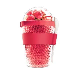 Czerwony kubek termiczny na jogurt Asobu Chill Yo 2 Go, 380 ml
