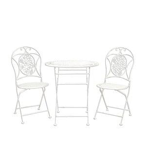 Metalowy stolik i 2 krzesła Provence, białe