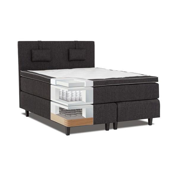 Czarne łóżko z materacem Gemega Grand, 140x200 cm
