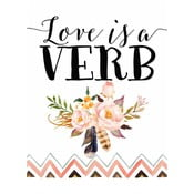Plakat w drewnianej ramie Pink love is verb, 38x28 cm