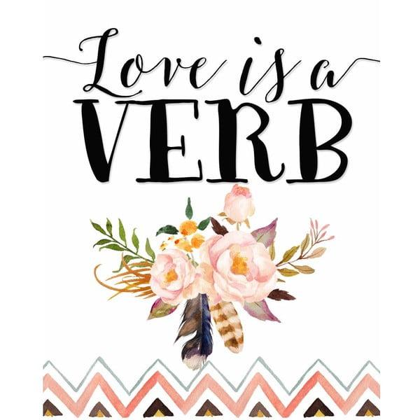 Plakat w drewnianej ramie Pink love is verb, 38x28 cm