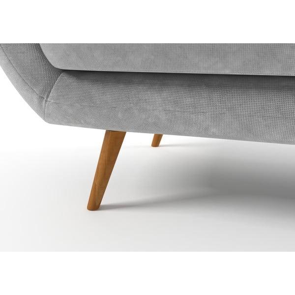 Szara   sofa trzyosobowa z żółtymi guzikami Wintech Zefir