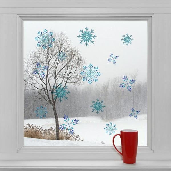 Elektrostatyczna naklejka Kolorowe śnieżynki