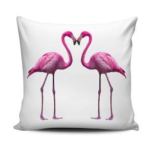 Różowo-biała poduszka Home de Bleu Flamingos In Love, 43x43cm