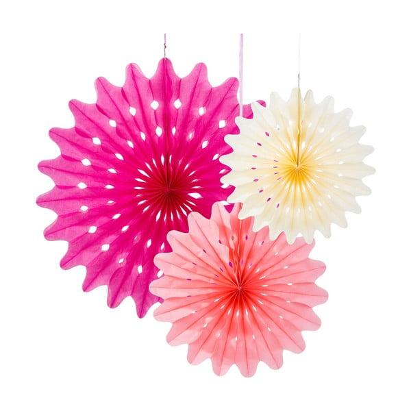 Dekoracje papierowe Fan Blossom, 3 szt.