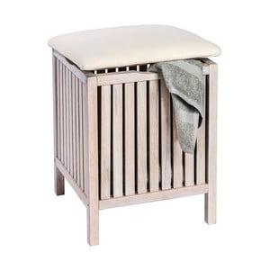 Biały stołek drewniany ze schowkiem Wenko Norway