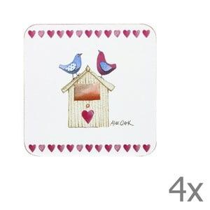 Komplet 4 podstawek Lovebirds, 10x10 cm