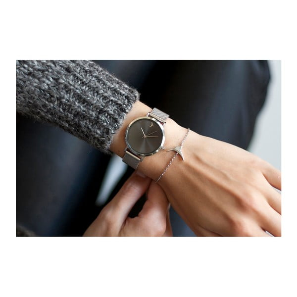 Zegarek damski z bransoletką ze stali nierdzewnej w srebrnym kolorze Emily Westwood Black