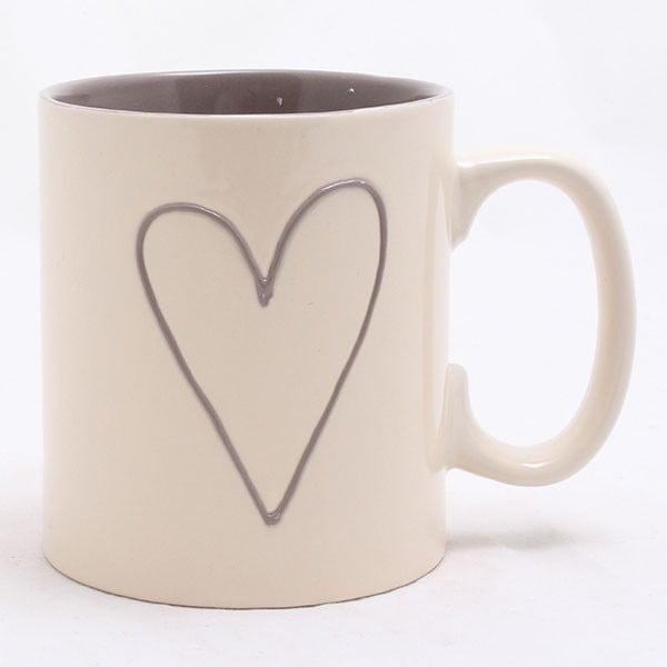 Biały ręcznie zdobiony kubek ceramiczny Dakls Heart Light, 0,5 l