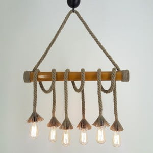 Lampa wisząca z 6 żarówkami Bambu
