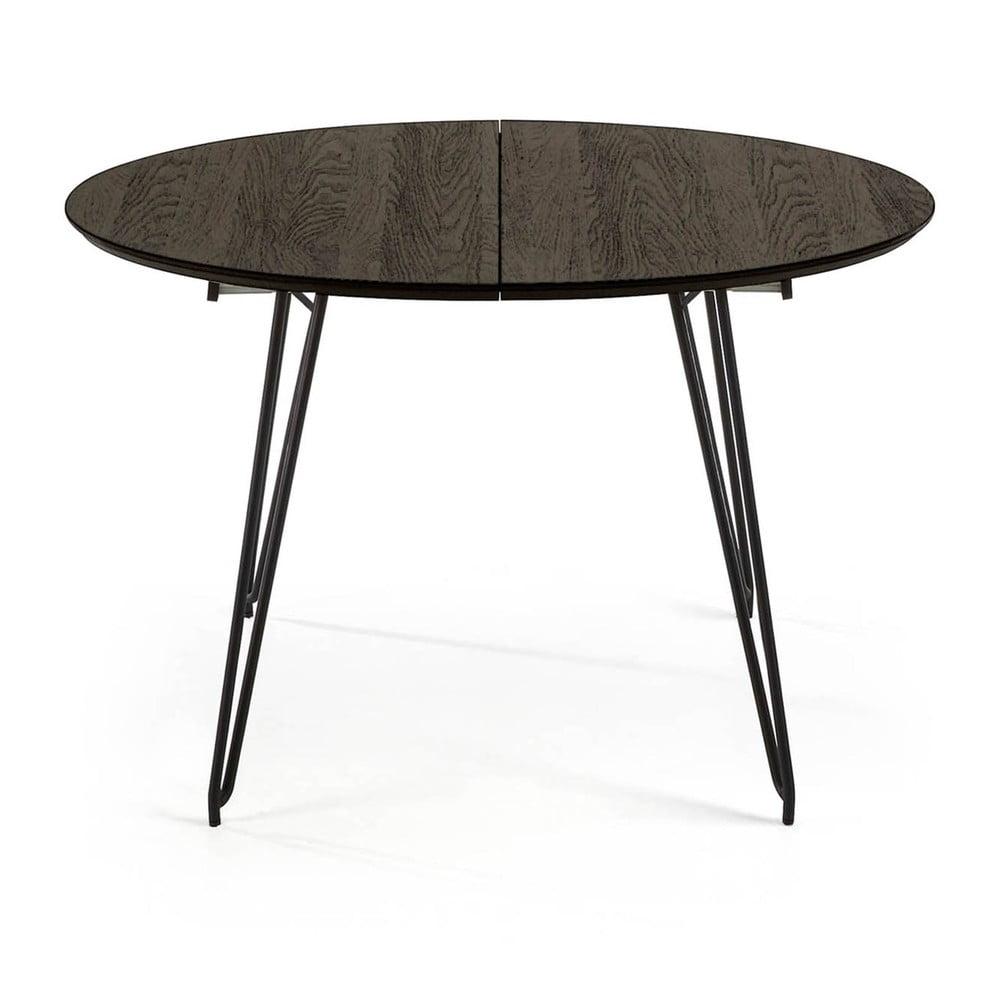 Czarny stół rozkładany La Forma Norfort, ⌀ 120 cm