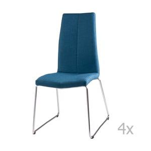 Zestaw 4 niebieskich krzeseł sømcasa Aora
