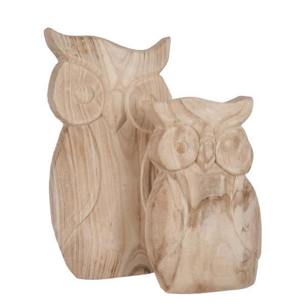 Zestaw 2 drewnianych figurek Owls