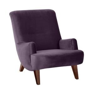 Fioletowy fotel z brązowymi nogami Max Winzer Brandford Suede