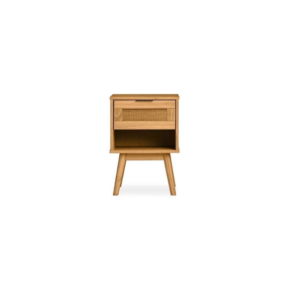 Brązowa szafka nocna z drewna sosnowego Marckeric Asmara