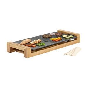 Elektryczny grill stołowy w bambusowej podstawce Princess