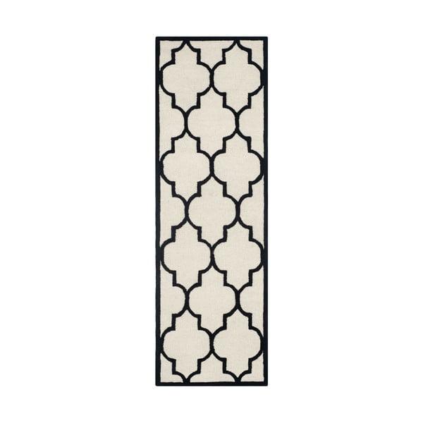 Wełniany dywan Everly 76x243 cm, biały/czarny