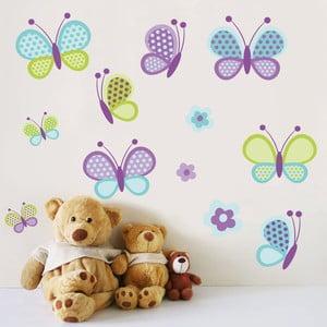 Naklejka na ścianę Motyle i kwiaty, 60x90 cm