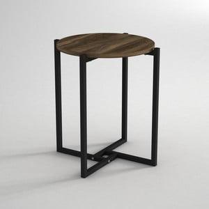 Stolik z blatem w dekorze drewna orzecha Noce, ⌀ 49 cm