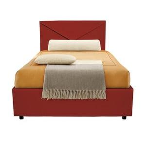Ciemno-czerwone łóżko jednoosobowe ze schowkiem 13Casa Mina, 95x205cm
