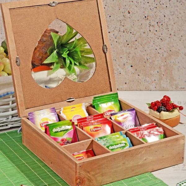 Bambusowe pudełko na herbatę z 9 przegródkami Herbal