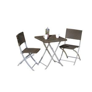 Zestaw 2 ciemnobrązowych krzeseł ogrodowych i stołu ADDU Norfolk