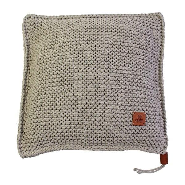Poduszka dziergana Catness, beżowa, 50x50 cm