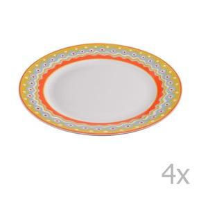 Komplet 4 porcelanowych talerzyków deserowych Oilily 19 cm, żółty