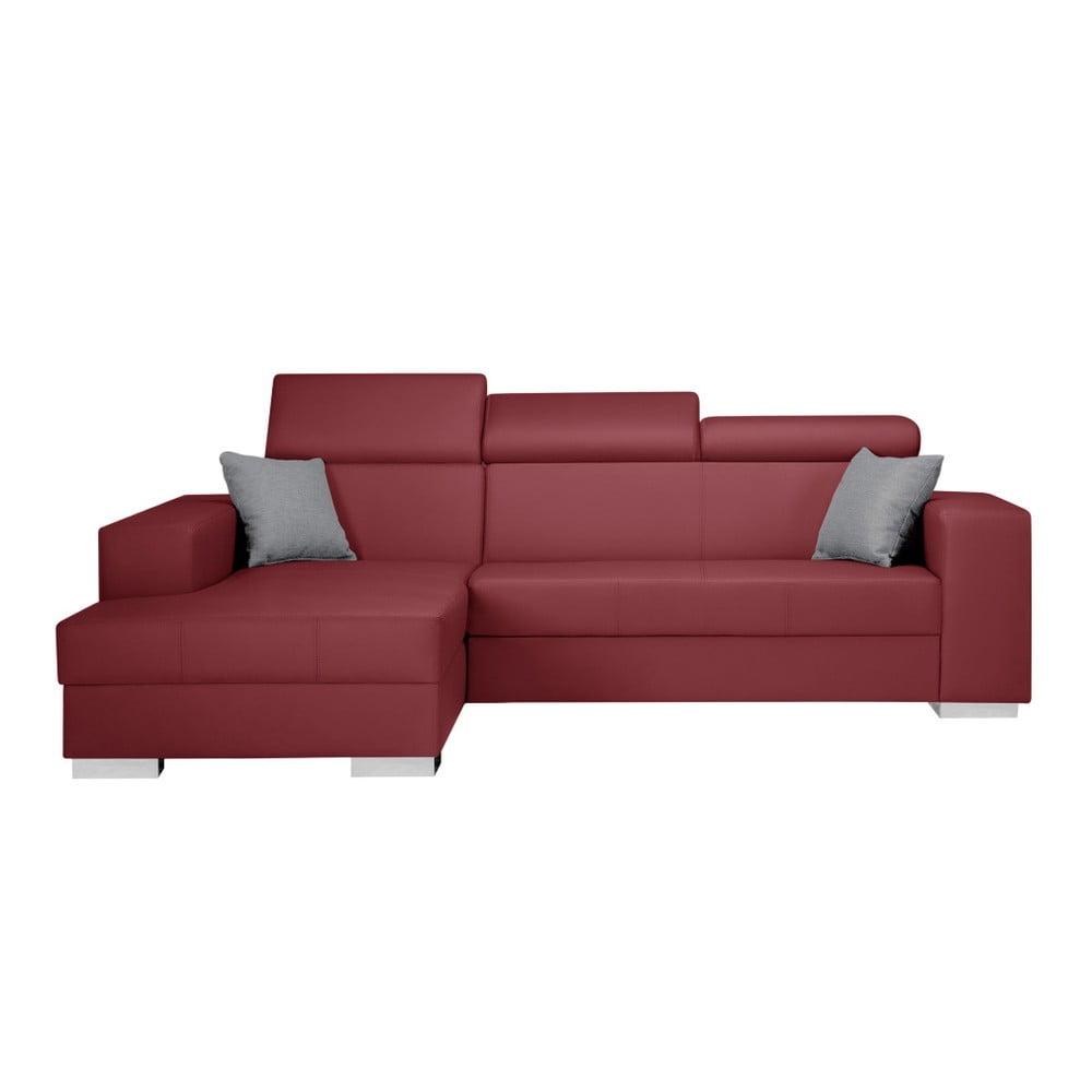 Czerwony narożnik lewostronny z szarymi poduszkami Interieur De Famille Paris Tresor