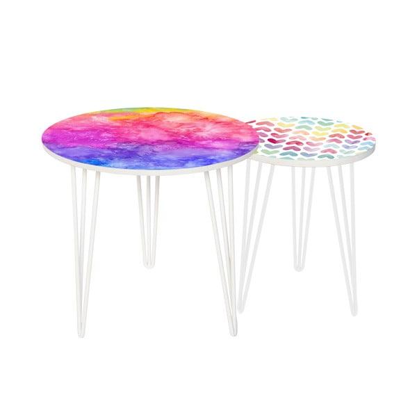 Zestaw 2 stolików Rainbow Watercolour, 35 cm + 49 cm