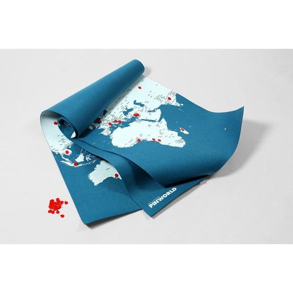 Niebieska ścienna mapa świata Palomar Pin World XL, 198x124 cm