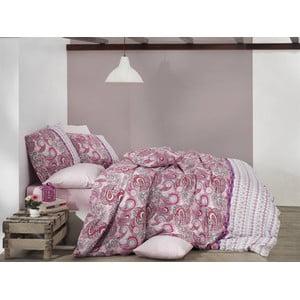 Pościel bawełniana z prześcieradłem Violetta Pink, 200x220 cm