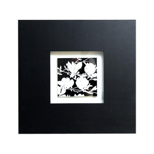 Obraz na drewnie Black and White Flower, 35x35 cm