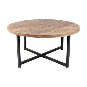 Czarny stolik z blatem z drewna mangowca LABEL51 Dex, Ø 60 cm