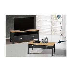 Szary stolik pod TV z drewna sosnowego z 2 szufladami SOB Jayde