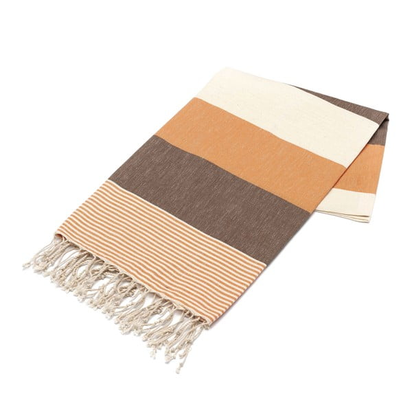 Ręcznik hammam American Stripes Brown & Orange, 100x180 cm