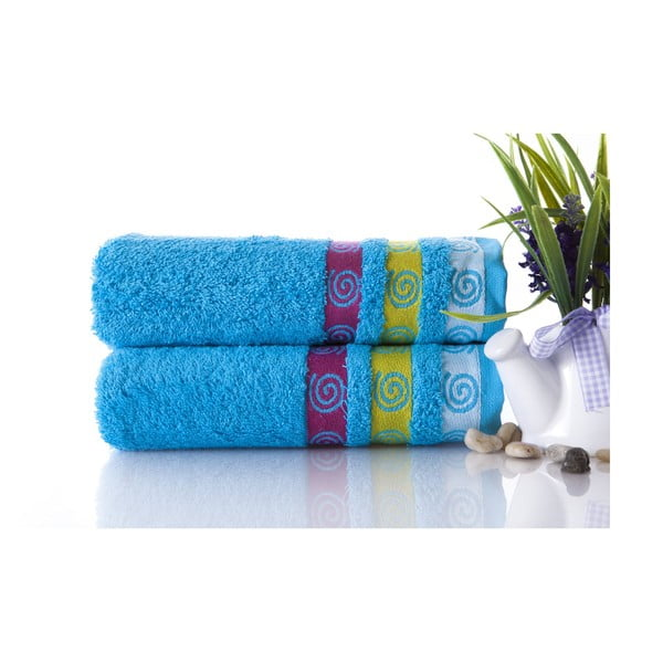 Zestaw 2 ręczników Truva Turquoise, 50x90 cm