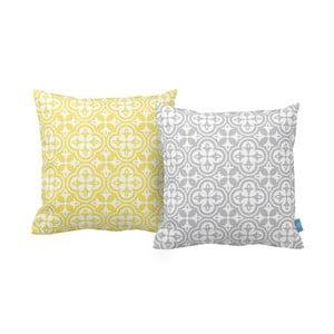 Zestaw 2 poduszek Grey And Yellow, 43x43 cm