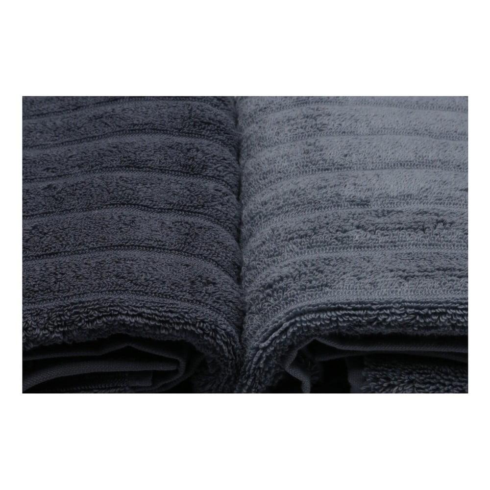 Komplet 4 szaro-białych ręczników bawełnianych Sofia, 50x90 cm