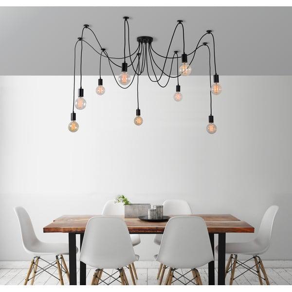 Czarna lampa wisząca z 9 żarówkami Filament Style Spider